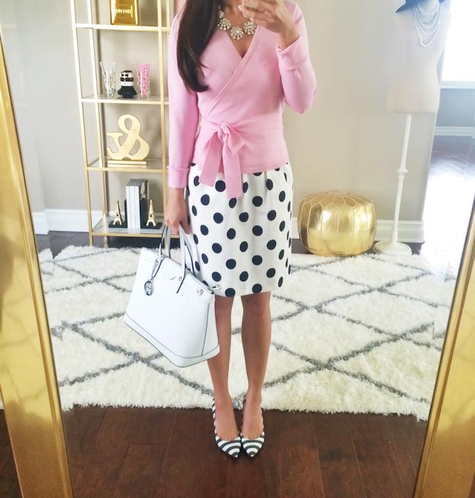 DVF ballerina cardigan sweater Jcrew polka dot skirt Miss Albright Tinsley striped pumps Henri Bendel west 57th white satchel