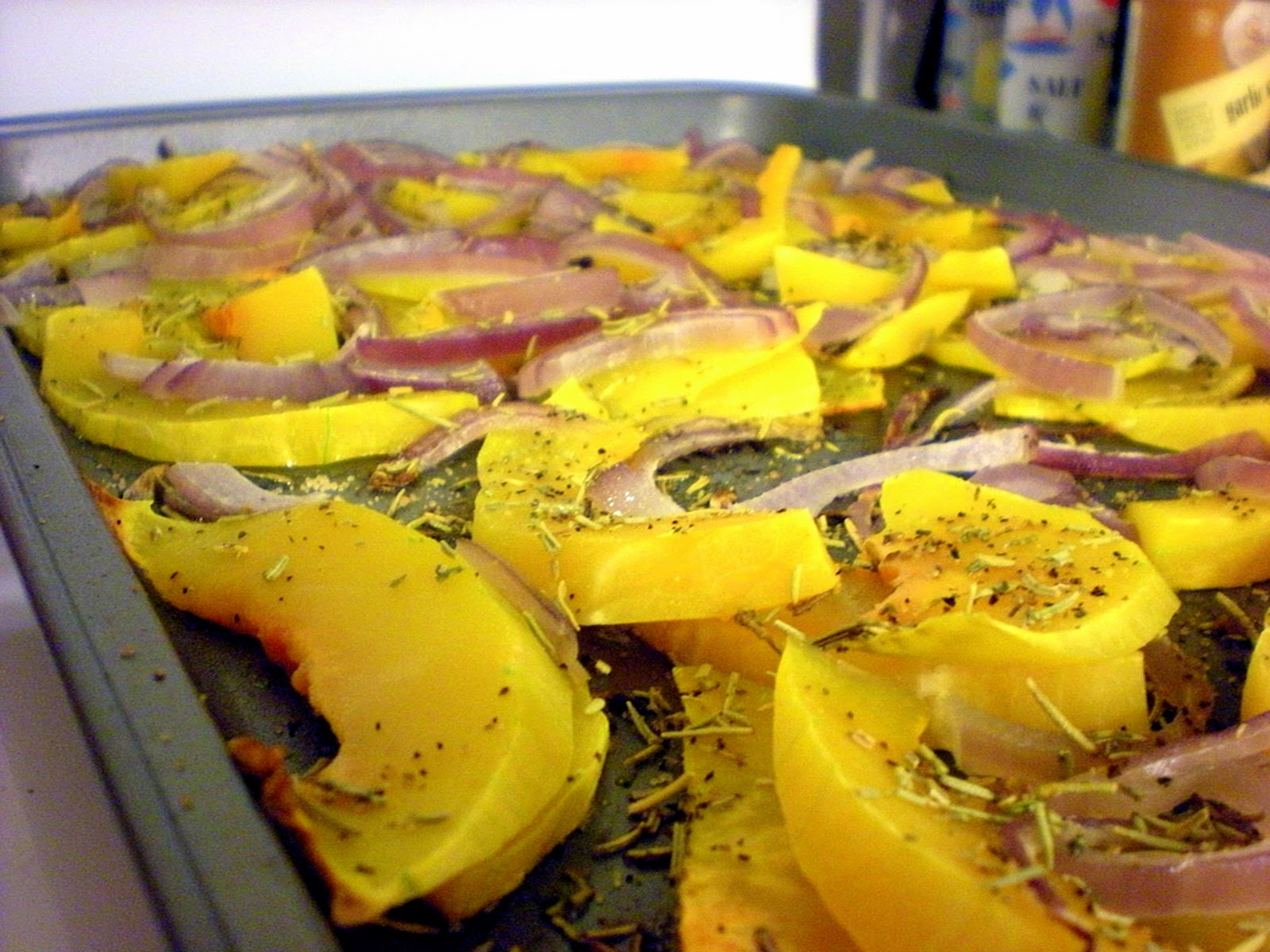 ... first...roasted butternut squash with caramelized onions and rosemary