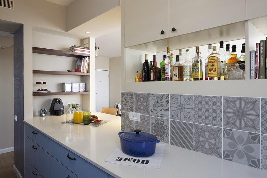 amenajari, interioare, decoratiuni, decor, design interior , apartament, gri, albastru , galben, bucatarie