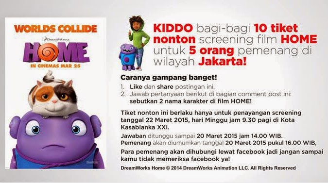 Kuis Kiddo Berhadiah 10 Tiket Screening Film HOME