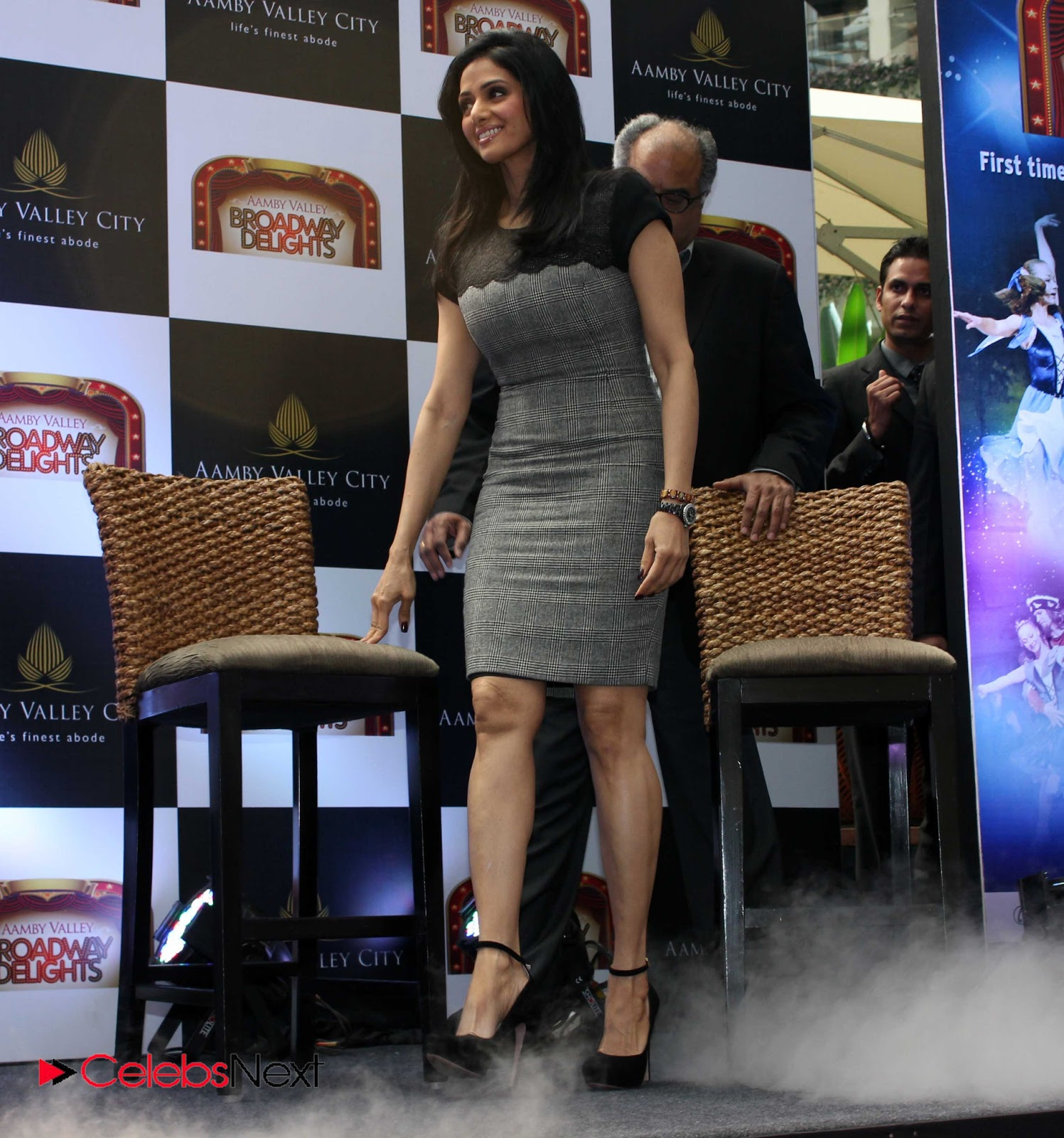sridevi latest photos in short dress at aamby valley broadway delights launch