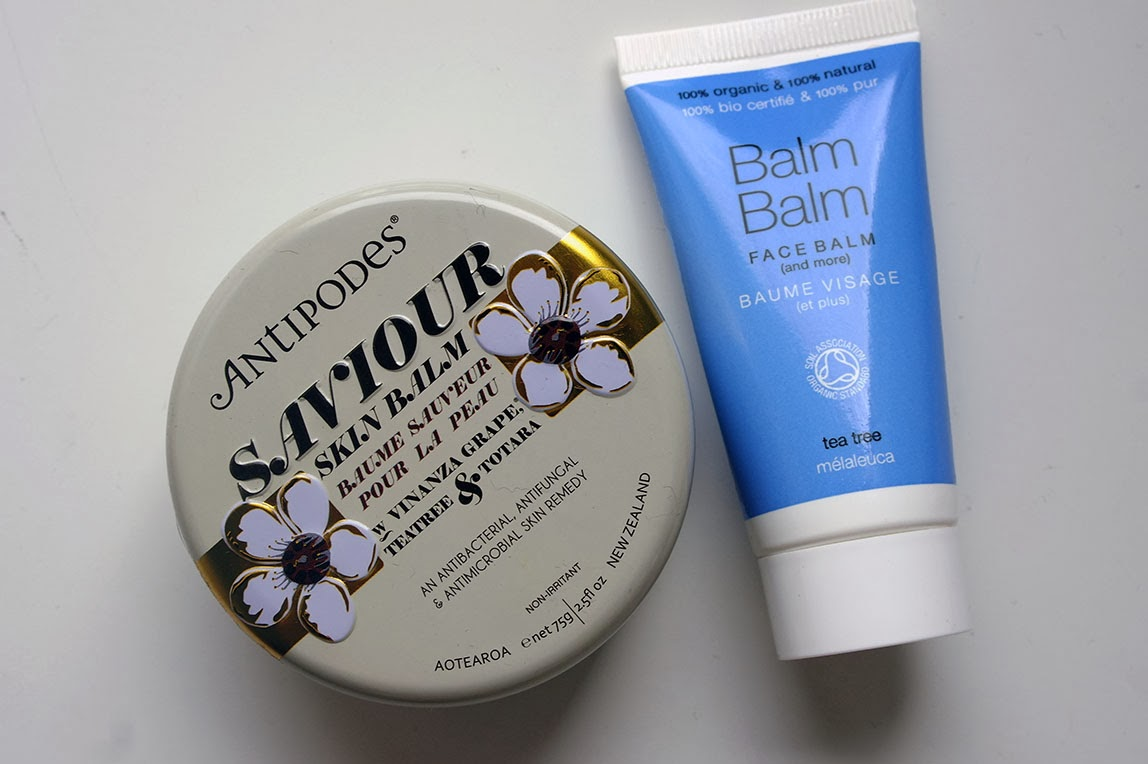 Balms Away: BALM BALM Tea Tree Face Balm + ANTIPODES Saviour Skin Balm repairing soothing relieving balacing moisturizing hydrating oils night cream hidratante bálsamos óleos calmante apaziguante jojoba oil