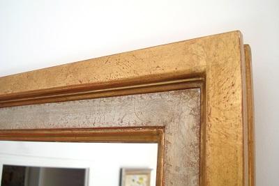 Espejo de madera antiguo dorado