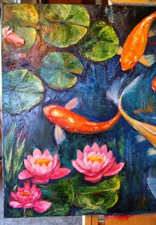 Jen beaudet art new koi fish and lily pad painting for Koi carp artwork