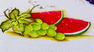pintura de uvas verdes com melancia