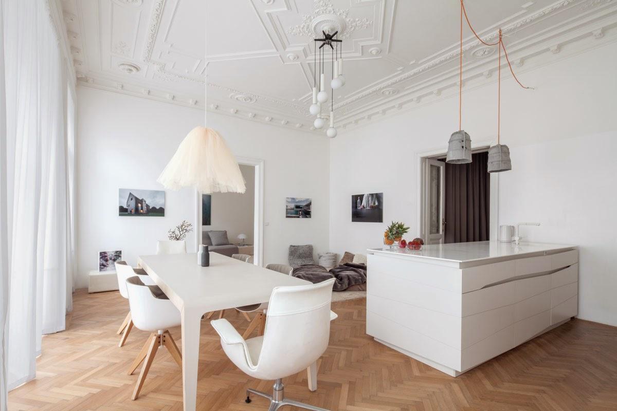 lampadari bianchi moderni : Il rinnovo di un classico appartamento viennese