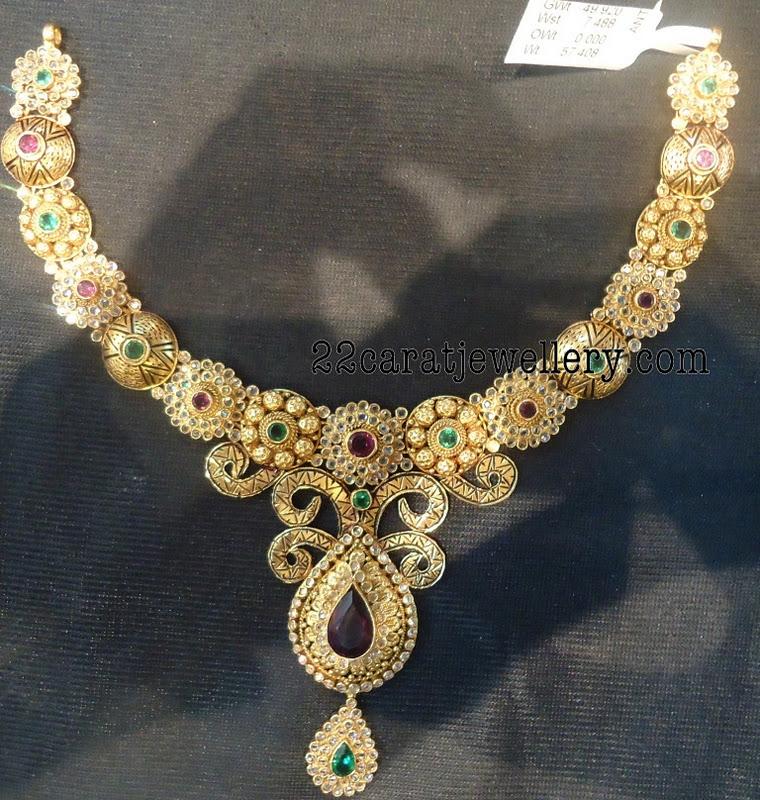 34 Grams Unique Diamond Set: Uncut Diamond Studded Antique Necklaces (below 90 Grams