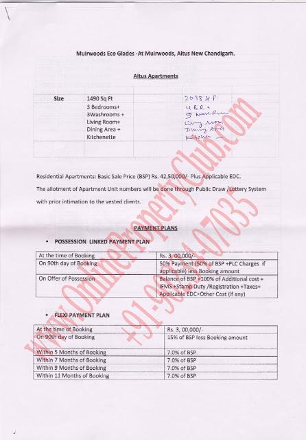 altus flats in Mullanpur Payment Plan1