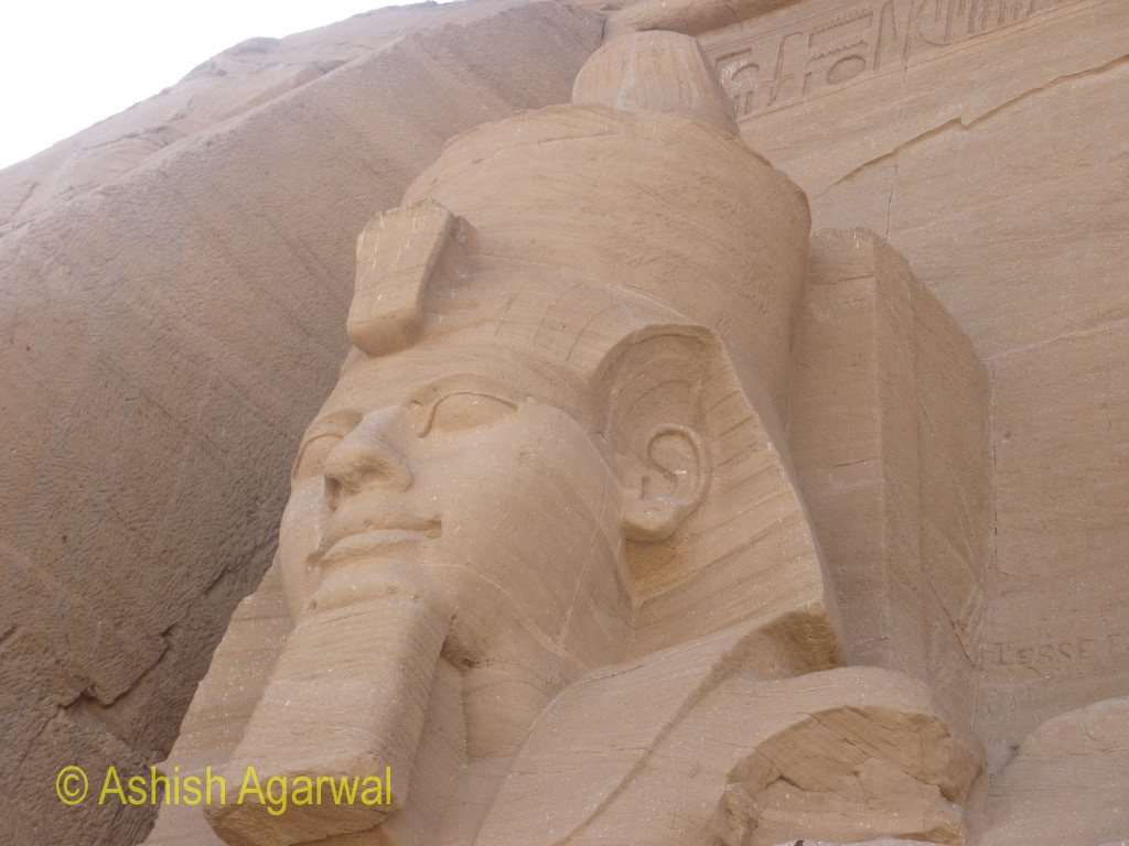 Sculpture of the head of the Pharaoh at the Abu Simbel temple near Aswan