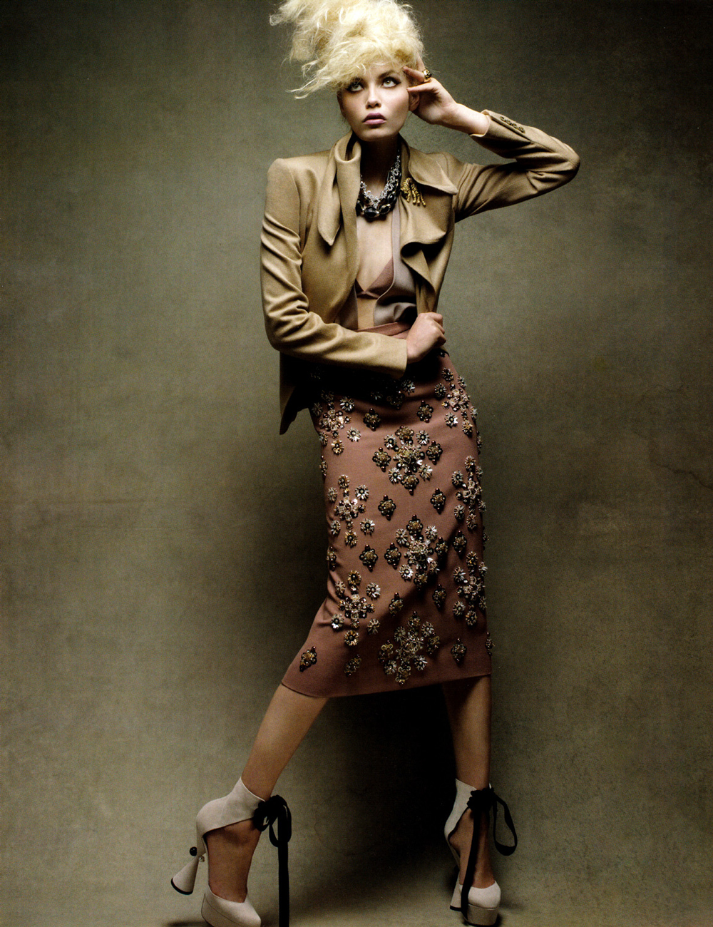 Natasha Poly wearing Louis Vuitton Fall/Winter 2009 shoes (and Miu Miu skirt) photographed by Patrick Demarchelier for Vogue China August 2009 via fashioned by love british fashion blog