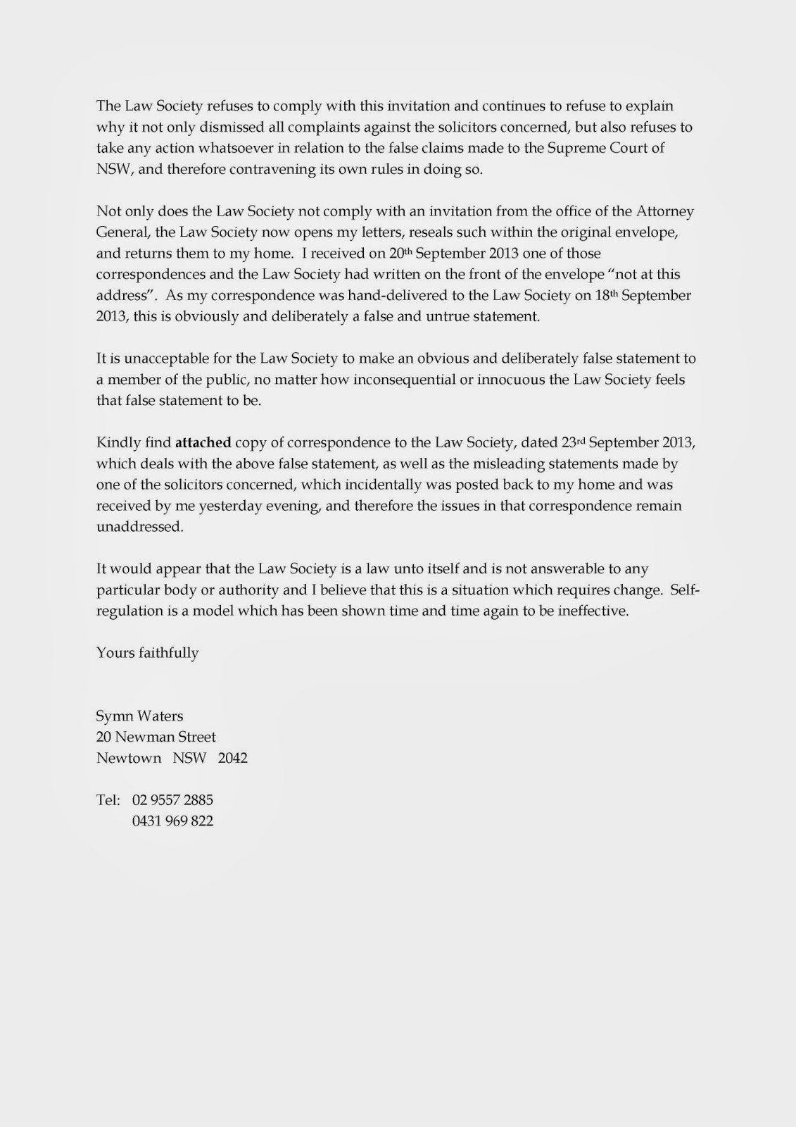 Inaction by the law society and the office of the legal services please see my letter to the law society of nsw of 30th october 2013 while i am clearly unable to specifically claim that corrupt activity is taking place spiritdancerdesigns Image collections
