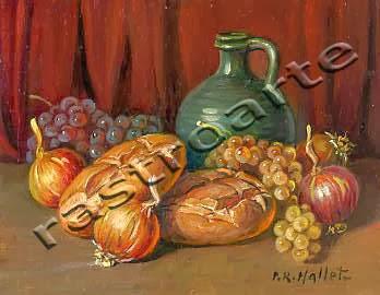 Bodegón con vasija vidriada, uvas, cebollas y panes