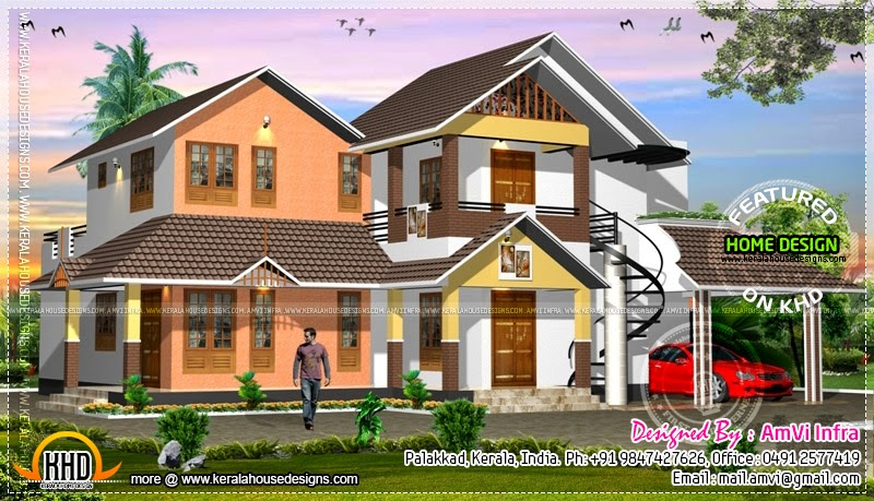 House concept rendering with floor plan kerala home for Concept home plans