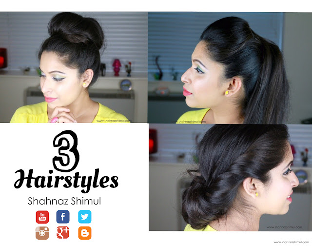 3 Quick hairstyles | Kim Kardashian Sleek Hair Tutorial