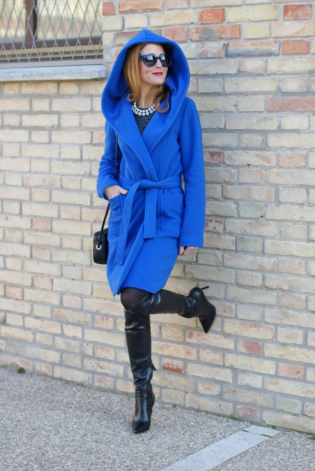 Royal blue wrap hooded coat and over the knee boots on Fashion and Cookies fashion blog, fashion blogger style