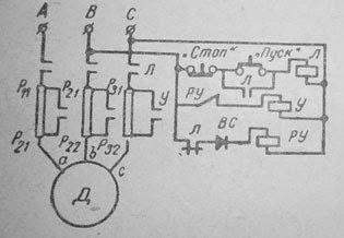 Схема автоматического пуска асинхронного короткозамкнутого электродвигателя через сопротивление