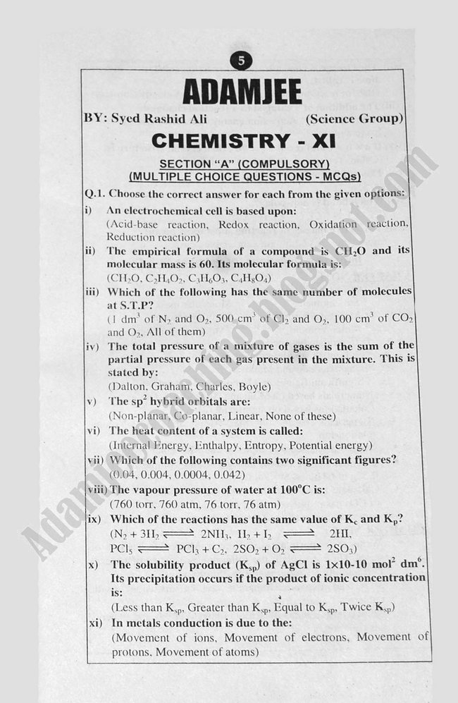 Chemistry Guess Papers Science Group XI 2013