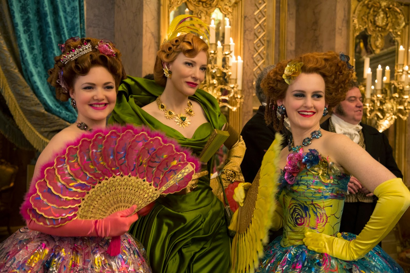 Cate Blanchett as the Stepmother, Holliday Grainger as Anastasia, Sophie McShera as Drisella in Disney's Cinderella