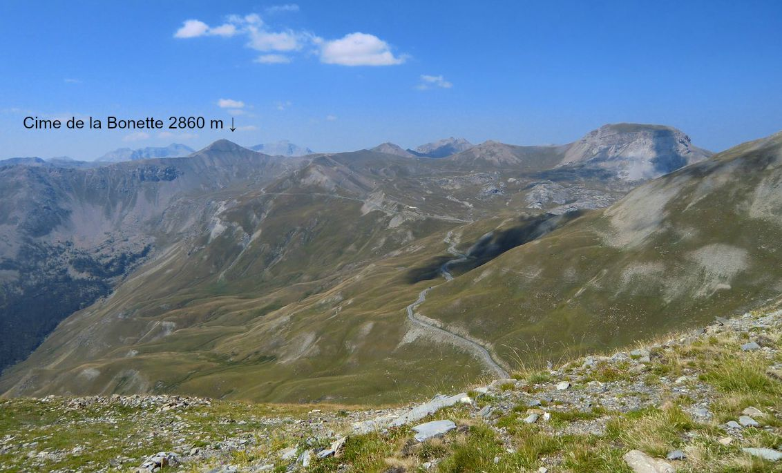 Road to col de la Bonette seen from the summit of Cime de Pelousette