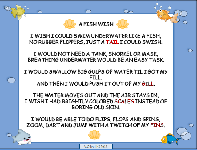 Teaching little language learners a concept poem about fish for The fish poem