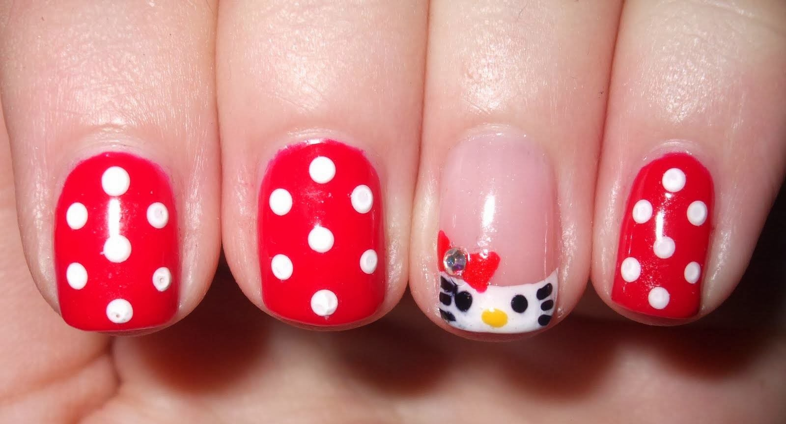 Hello kitty nail designs with animal print