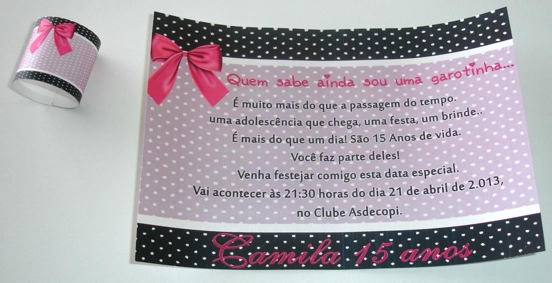 Daniela Mallmann Convites E Lembrancinhas Convite 15 Anos Enroladinho
