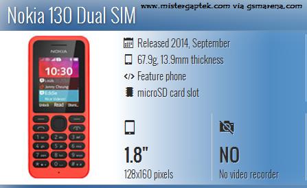 Nokia 130 Dual SIM, HP Murah 300 Ribuan dengan Slot Memori Sampai 32 GB