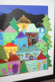 school auction art project trees neighborhood houses