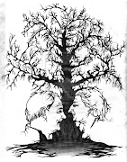 BlackWhite Tree Optical illusion picture in picture