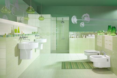 Baño Verde Con Blanco:Baños en verde