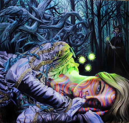 14-Sleeping-Beauty-and-Maleficent-Angelina-Jolie-Joshua-Roman-Rainbow-Portraits-Drawings-Illustrations-www-designstack-co