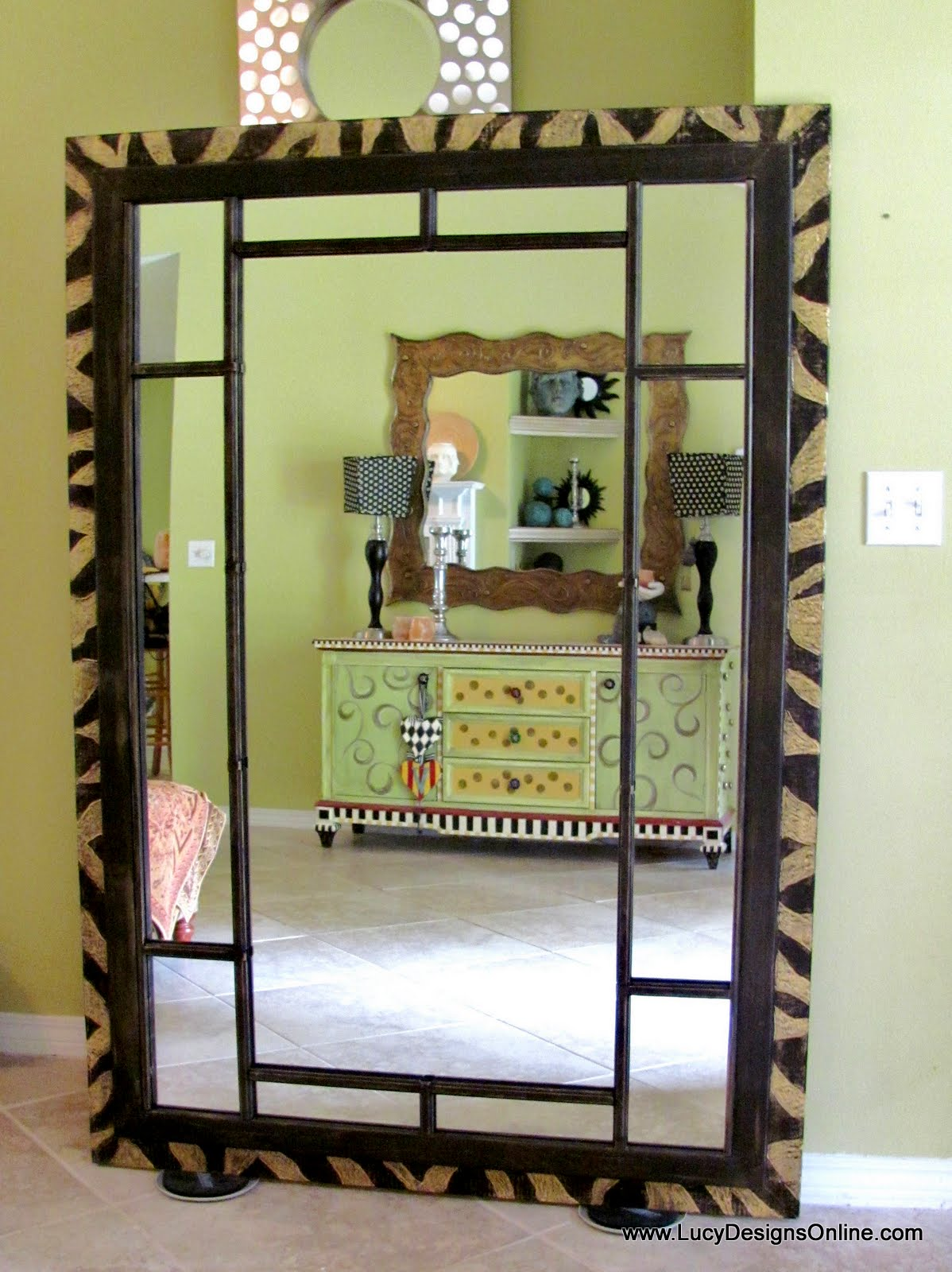 Diy Mirror Dremel Carved Zebra Pattern On 6 Foot Wood Leaner Mirror Frame