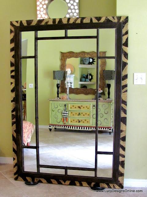 dremel carved zebra mirror frame
