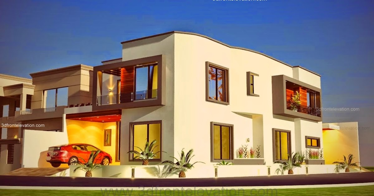 3d front 10 marla plot modern for Bahria town islamabad home designs