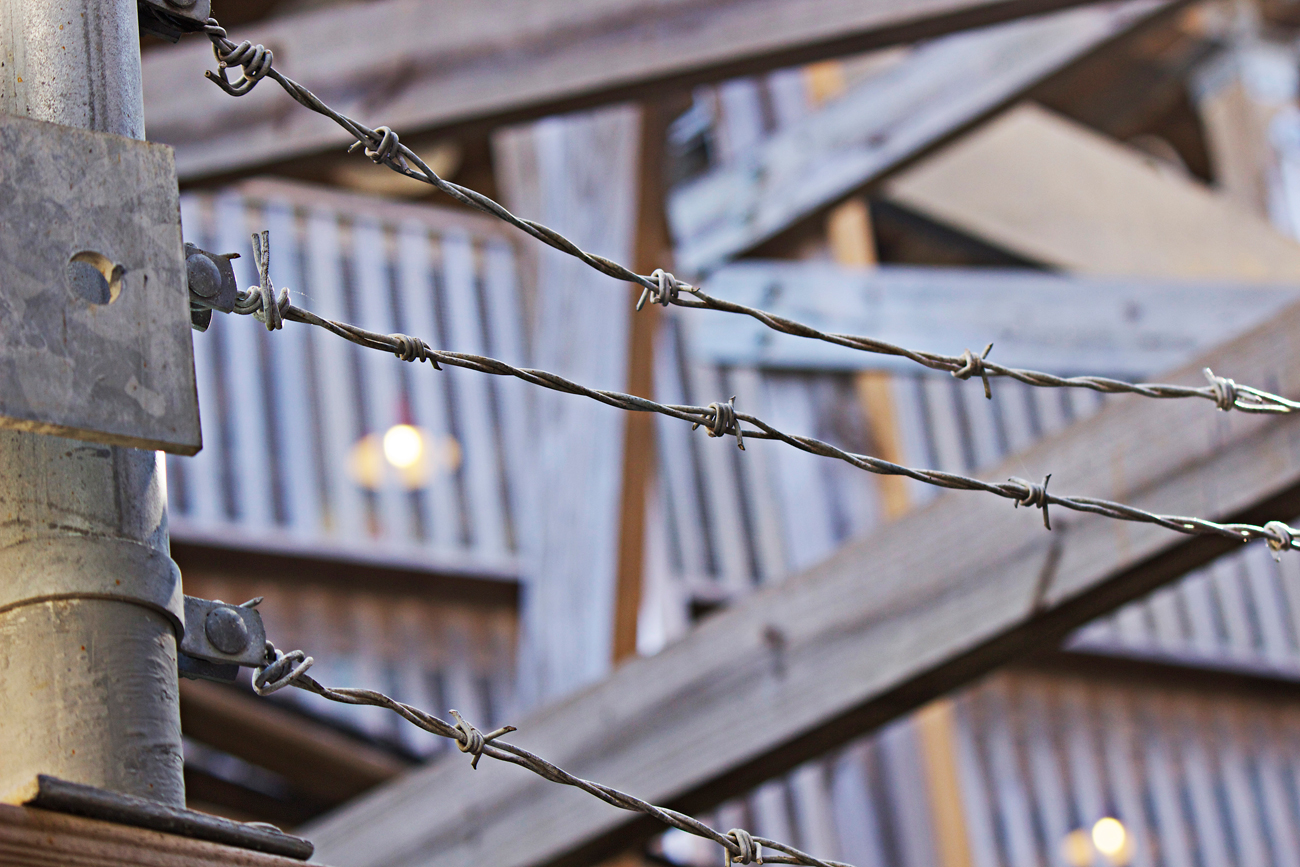barbed wire at kemah boardwalk