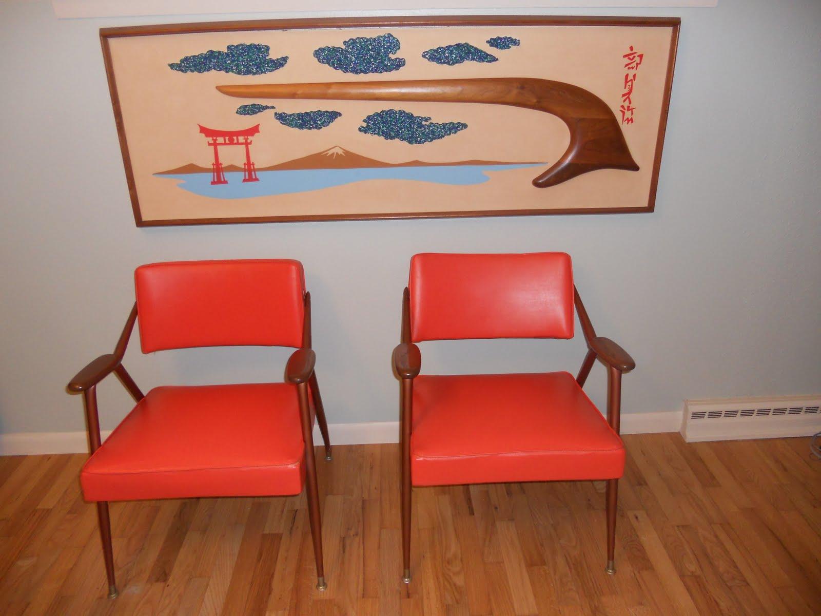 Mid Century Modern Orange Vinyl Viko Baumritter Chairs