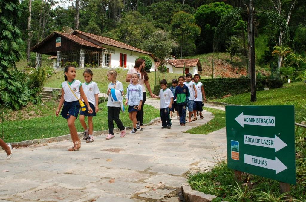 Alunos da Escola Municipal Fazenda Alpina usam a área do Parque Municipal para ações de educação ambiental
