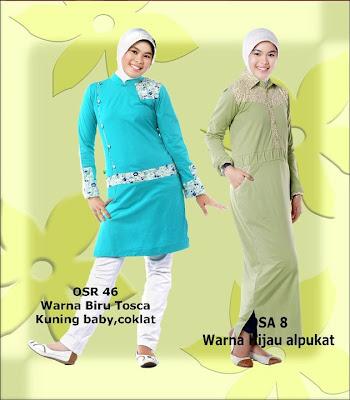 Model Baju Kaos Muslim Osmoes Biru Tosca Kuning Baby Coklat dan Hijau Alpukat