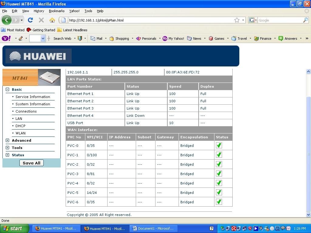 Dsl Broadband Modem Configuration Huawei Smartax Mt841