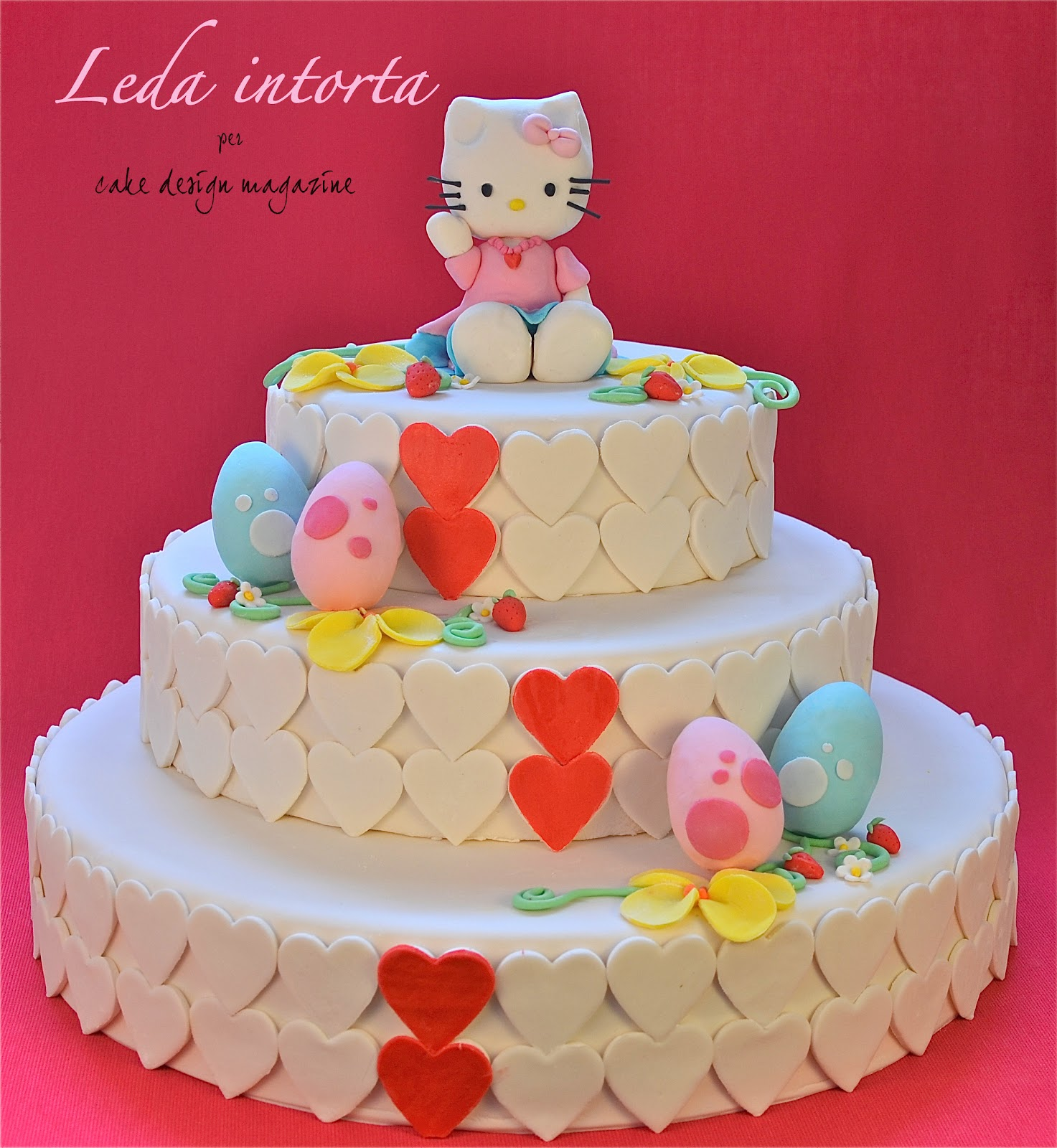 Hello Kitty, Hello kitty in pasta di zucchero, torta Hello Kitty, torta decorata, le torte di Leda, Leda intorta, come fare una torta in pasta di zucchero.