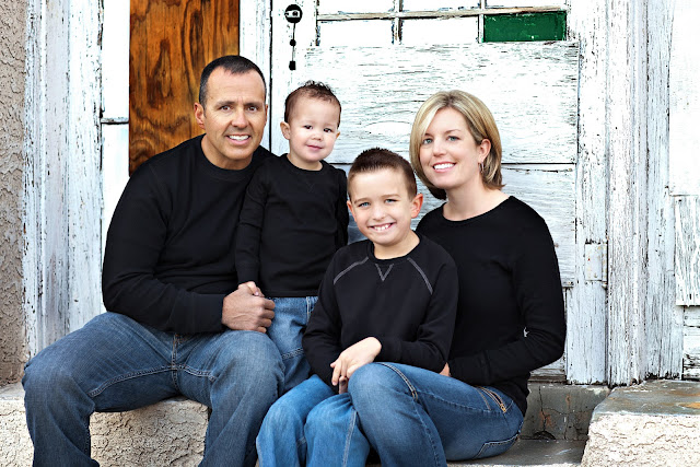 Family portrait with beautiful textured background taken downtown Tucson