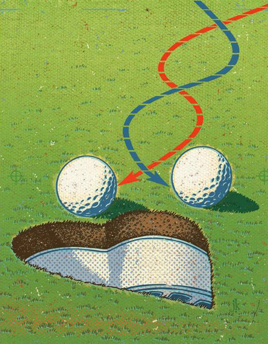 John Kachik illustration showing 2 golf balls headed towards heart shaped golf hole.