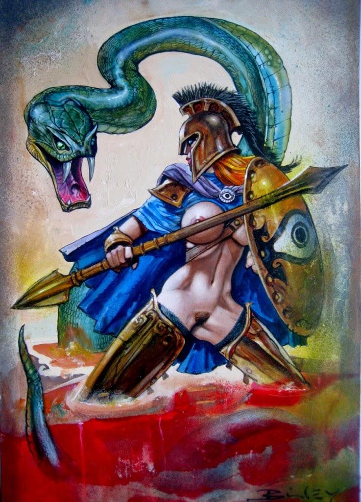 Dessin de Simon Bisley représentant une guerrière grecque nue avec une lance affrontant un serpent géant