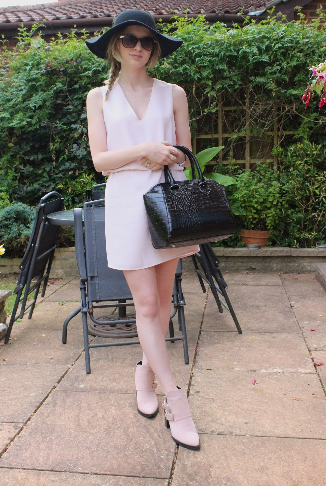 Topshop floppy hat, Mango Dress, Debenhams Bag, Zara Boots