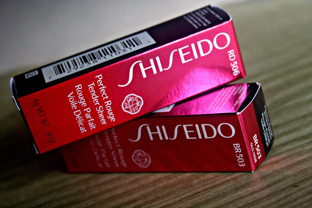 Shiseido Perfect Rouge Tender Sheer Lipstick in RD503 & RD506