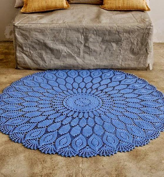 Tapete circular de hermoso diseño para tejer con ganchillo