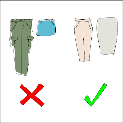 Cargo pants and mini skirts versus knee-length skirts and capris