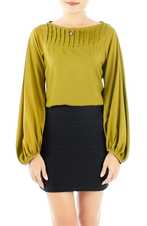 Chartreuse Bishop Long Sleeve Blouse with Pintuck Detail