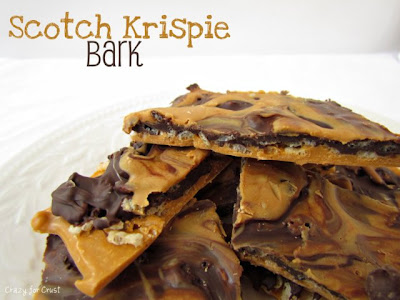 scotch krispie bark on white plate