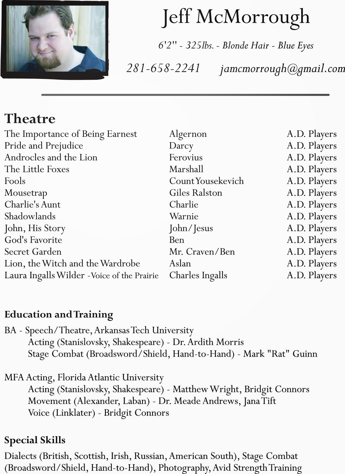 talent acting resume actor beginner theatre